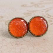 Orange Earrings, Post Earrings, Stud Earrings, Resin Earrings, Glitter Earrings, Sparkly Earrings, Fake Plugs, Faux Plugs