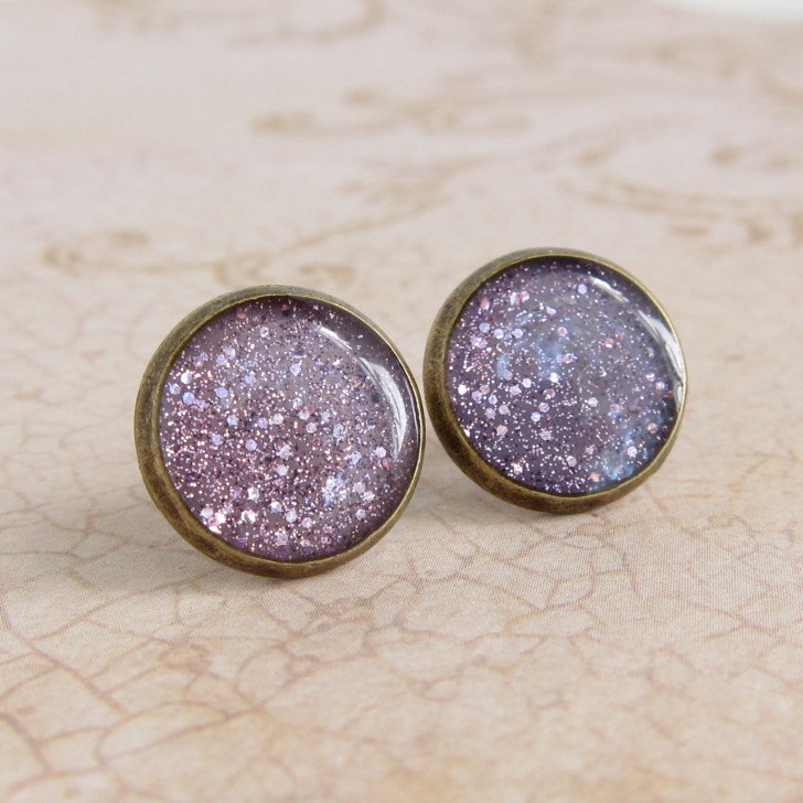 Purple Earrings, Post Earrings, Stud Earrings, Resin Earrings, Glitter Earrings, Sparkly Earrings, Fake Plugs, Faux Plugs