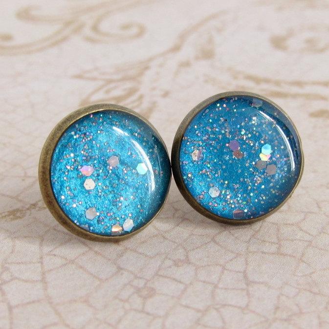 Sky Blue Earrings, Post Earrings, Stud Earrings, Resin Earrings, Glitter Earrings, Sparkly Earrings, Fake Plugs, Faux Plugs