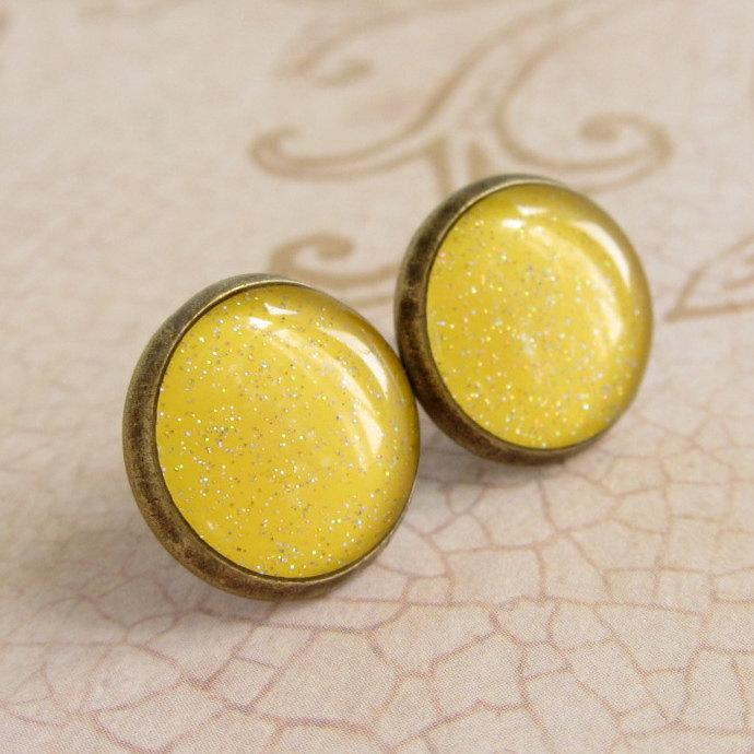 Yellow Earrings, Post Earrings, Stud Earrings, Resin Earrings, Glitter Earrings, Sparkly Earrings, Fake Plugs, Faux Plugs