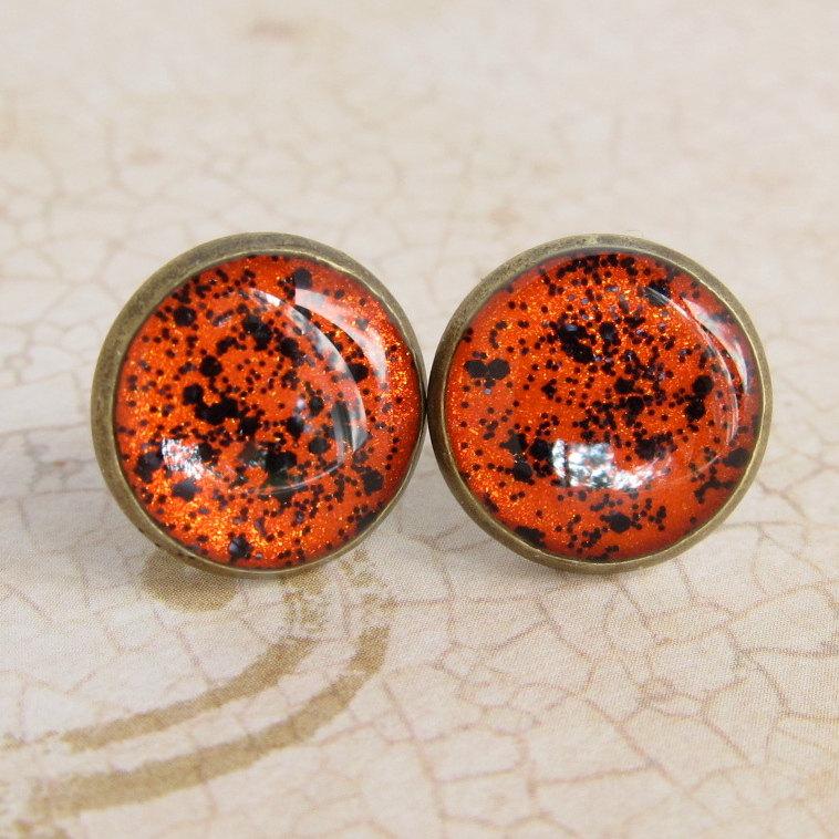 Halloween Jewelry - Stud Earrings, Glitter Fake Plugs, Resin Jewelry - SPOOKY ORANGE