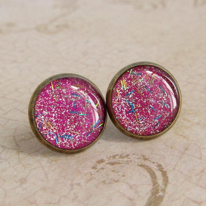 Glitter Earrings - Neon Pink Stud Earrings, Resin Fake Plugs - PARTY GIRL