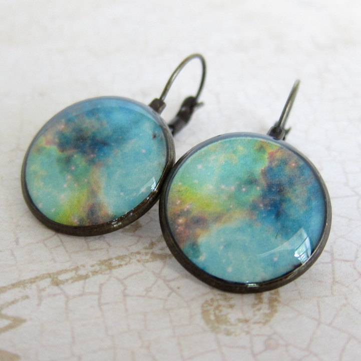 Nebula Earrings, Space Earrings, Astronomy Jewelry, NASA Earrings, Geeky Earrings, Nerdy Earrings, Leverback Earrings