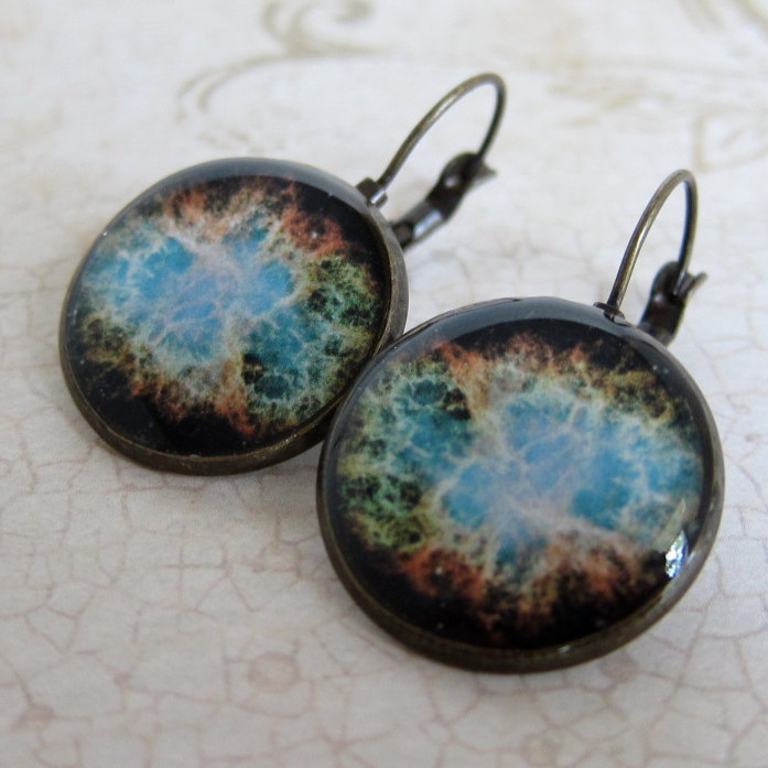 Space Earrings, Nebula Earrings, Astronomy Earrings, NASA Earrings, Geeky Earrings,Nerdy Jewelry, Leverback Earrings