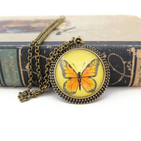 Butterfly Necklace, Butterfly Jewelry, Art Necklace, Wearable Art, Nature Necklace, Yellow Jewelry
