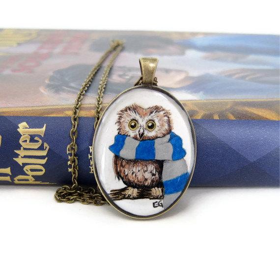 Owl Jewelry, Owl Necklace, Harry Potter Necklace, Resin Necklace, Ravenclaw Necklace, Hogwarts House