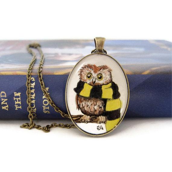 Owl Jewelry, Harry Potter Necklace, Art Necklace, Wearable Art, Hufflepuff Necklace, Hogwarts Owl, Hufflepuff House