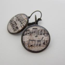 Music Earrings, Sheet Music Earrings, Music Jewelry, Sheet Music Jewelry, Leverback Earrings, Gifts for Musicians